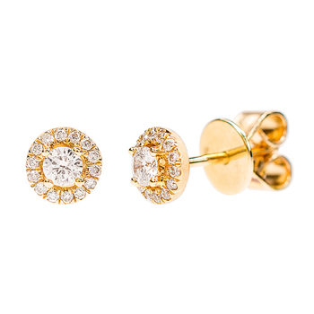 0.23ctw Round Brilliant Cut Diamond Halo Stud Earrings, 18ct Yellow Gold