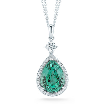 9.73ct Pear Green Tourmaline with 0.62ctw Diamond Pendant, 18ct White Gold