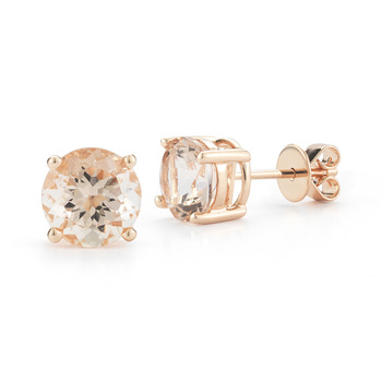 2.4ctw Morganite and 18ct Rose Gold Stud Earrings