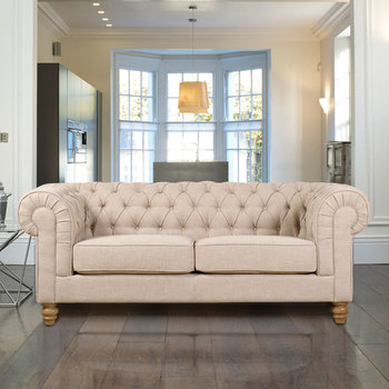 Chesterfield 3 Seater Fabric Sofa, Natural