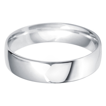 Gents 5mm Court Wedding Band, 18ct White Gold in 3 Sizes