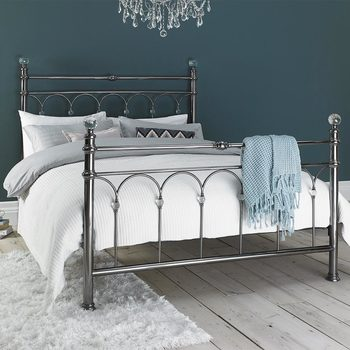 Bentley Cristina Antique Nickel Finish Metal Bed in 2 sizes