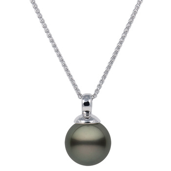 10-10.5mm Tahitian Black Pearl Pendant, 18ct White Gold