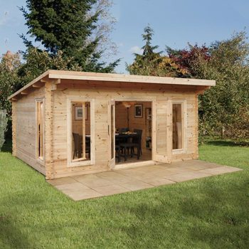 "Installed Forest Garden Mendip 44mm Log Cabin 17ft x 13ft 1"" (5.2 x 4.0 m)"