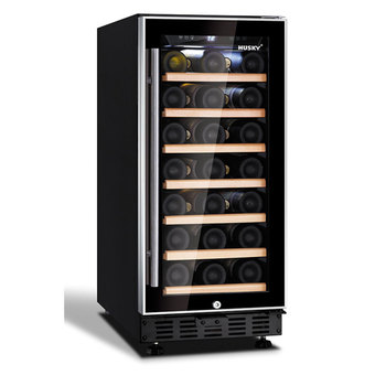 Husky 31 Bottle Signature Single Zone Wine Cooler with Black and Aluminium Trim Door, HUS-ZY1-S-NS-31