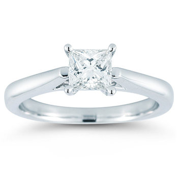 1.00ct Princess Cut Diamond Solitaire Ring, Platinum