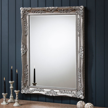 Gallery Stowe Rectangle Mirror, 99 x 79cm in Silver