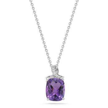 6.43ctw Cushion Purple Sapphire and 0.08ctw Diamond Pendant
