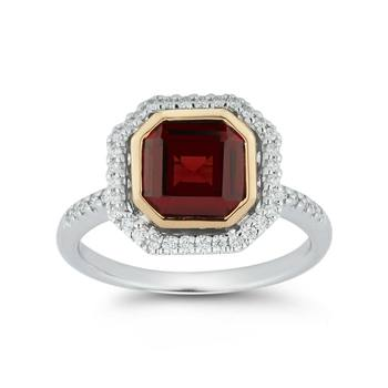 1.90ct Cushion Cut Garnet and 0.21ctw Diamond Ring, 18ct White and Yellow Gold