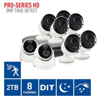 Swann DVR8-4780 8 Channel Digital Video Recorder with 6 x PRO-3MPMSB Bullet Cameras & 2 x PRO-3MPMSD Dome Cameras