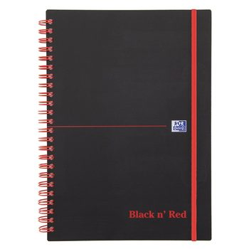 Black n Red A5 Wirebound Elasticated Notebook 90gsm 140 Pages - Pack of 10