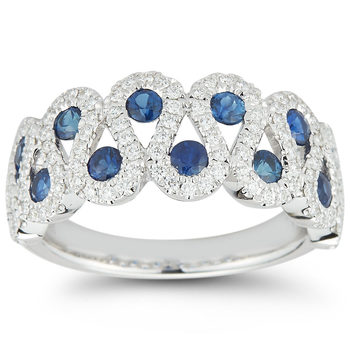 0.95ctw Round Blue Sapphire and 0.41ctw Diamond Ring, 18ct White Gold