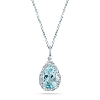 1.70ct Aquamarine and 0.09ctw Diamond, 18ct White Gold Necklace
