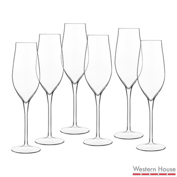 Luigi Bormioli Vinea Crystal Glass Champagne Flutes, 6 Pack