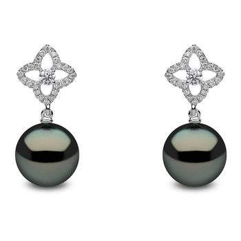 10-11mm Black Tahitian Pearl and 0.36ctw Diamond Earrings, 18ct White Gold