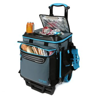 Titan 22.5 Litre (23.7 US Quart) 60 Can Rolling Cooler with All Terrain Cart
