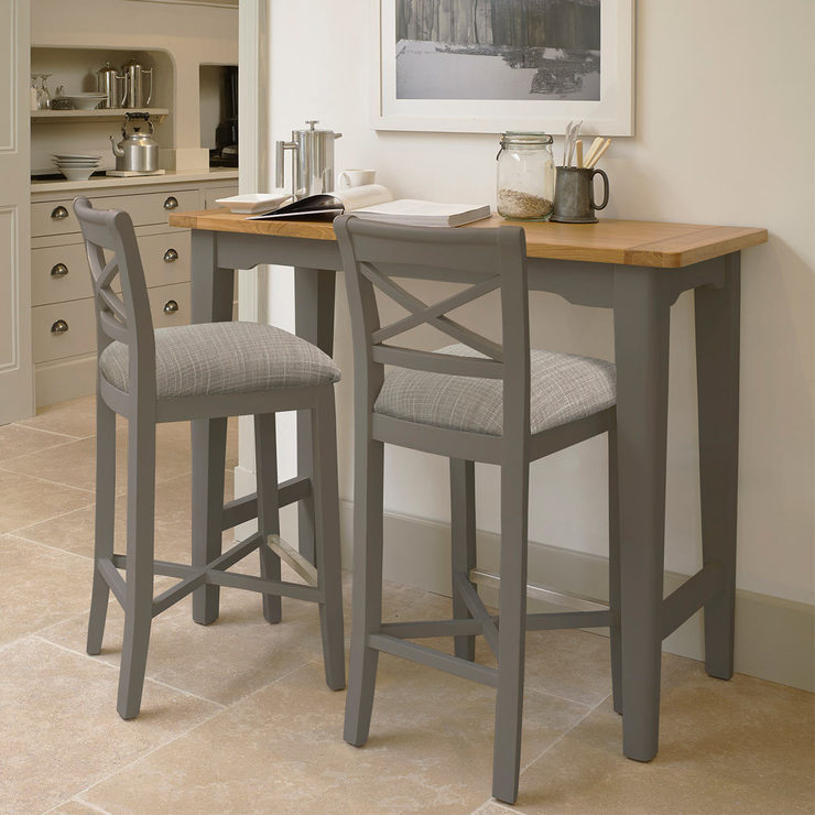 Bordeaux Painted Taupe Cross Back Bar Stools 2 Pack Costco Uk