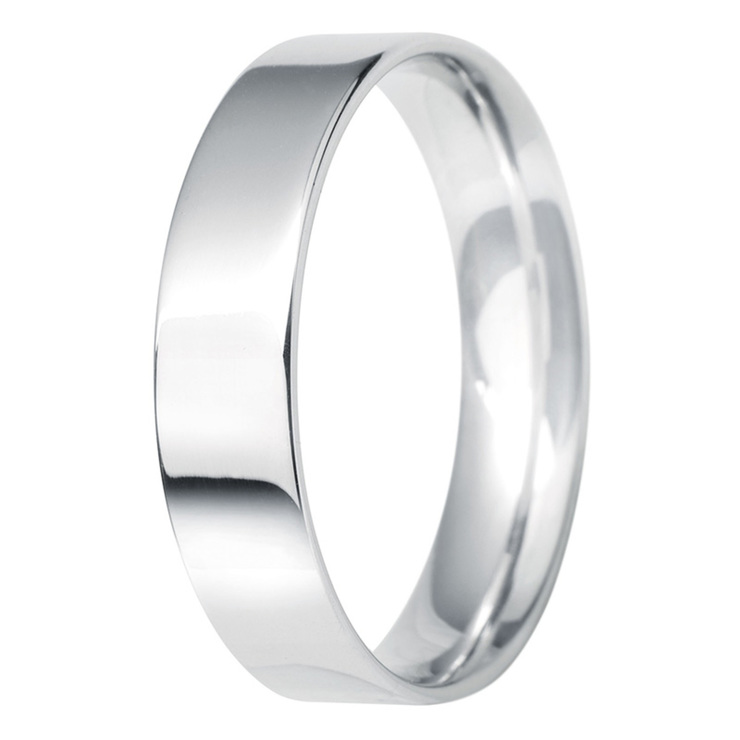 Gents 5mm Flat Court Wedding Band in Platinum Size Q Costco UK