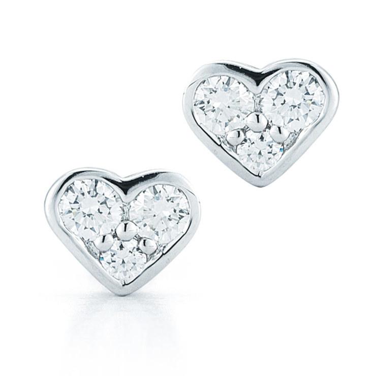 0.24ctw Diamond Heart 18ct White Gold Stud Earrings  8e35eb0a8