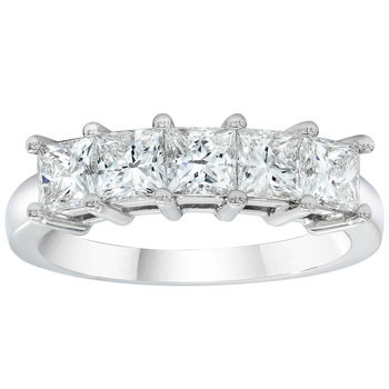 1.00ctw Princess Cut 5 Stone Diamond Ring, Platinum