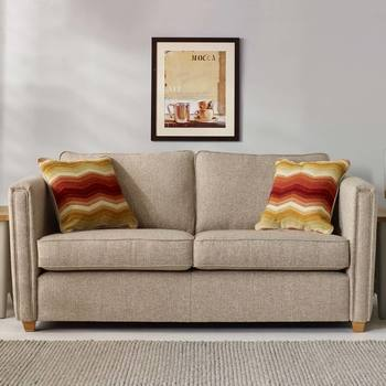 Ohio 3 Seater Fabric Sofa with 2 Accent Pillows, Natural
