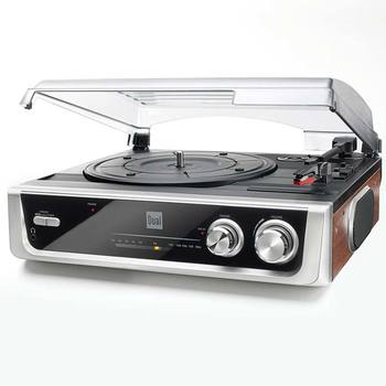 Dual MTR10 Twin Speed Turntable with Built In Speakers and FM Radio in Black and Silver