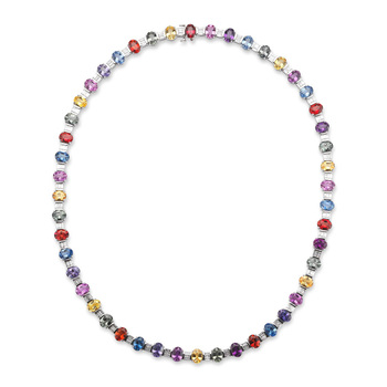 45.12ctw Multi-Colour Sapphire with 4.25ctw Diamond Necklace, 18ct White Gold