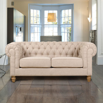 Chesterfield 2 Seater Fabric Sofa, Natural