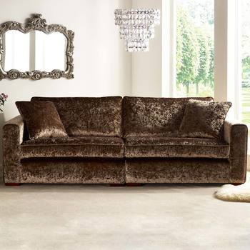 Parq 4 Seater Sofa with 2 Accent Pillows in Truffle Crushed Velvet