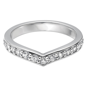 Ladies 0.45ctw Diamond Platinum V Shape Wedding Band in 3 Sizes