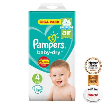 Pampers Baby-Dry Nappies Size 4, 120 Giga Pack