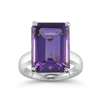 10.85ct Emerald Cut Amethyst 18ct White Gold Ring