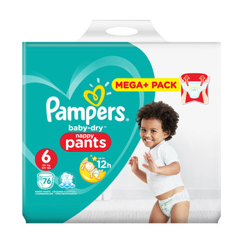 Pampers Baby-Dry Nappy Pants Size 6, 76 Mega+ Pack
