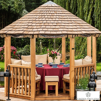 "Installed Crown Pavilions Guinevere 10ft 1"" x 10ft 1"" (3.1 x 3.1m) European Redwood Octagonal Gazebo + Dining Set (Seats 8)"