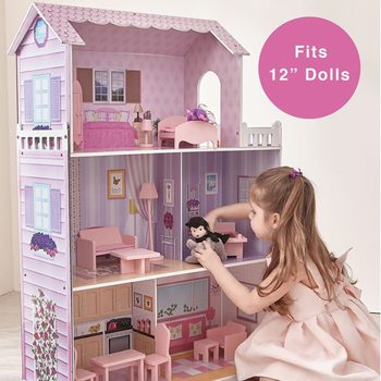 Teamson Kids Fancy Mansion Wooden Dollhouse + 13 Pieces of Furniture (4+ Years)