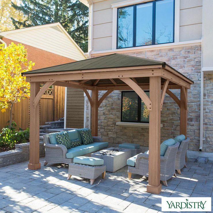 Yardistry 12ft x 12ft (3.7 x 3.7m) Cedar Gazebo with ... on Backyard Pavilion Costco id=20106