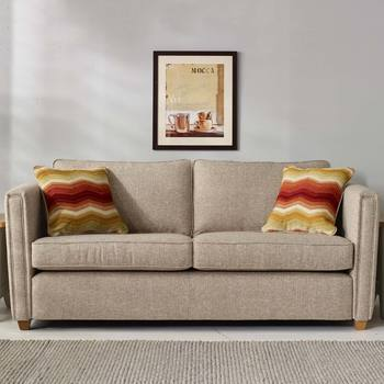 Ohio 4 Seater Fabric Sofa with 2 Accent Pillows, Natural