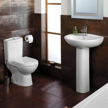 Tavistock Micra 565mm 1 Tap Hole Ceramic Basin with Full Pedestal - Model BP100S-1