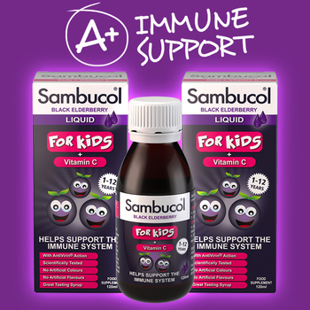 Sambucol Black Elderberry Liquid for Kids, 2 x 120ml (1-12 Years)