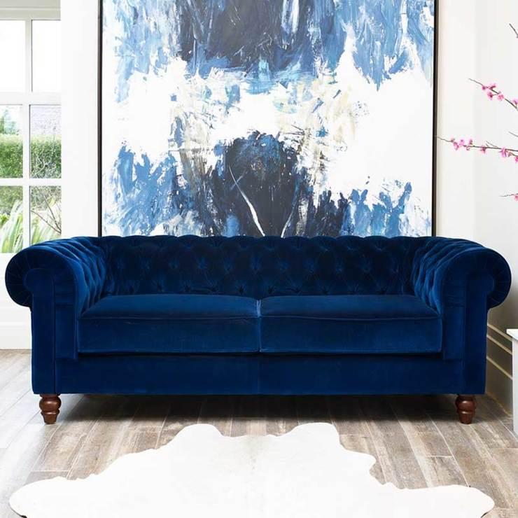 Beautiful Chesterfield 4 Seater Velvet Sofa, Blue